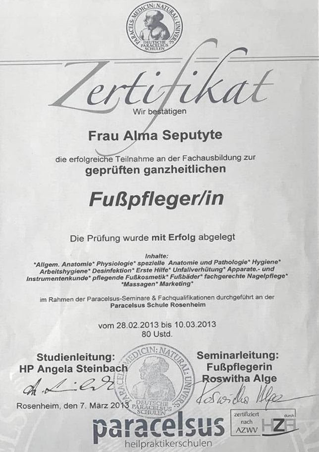 Zertifikat Fusspflegerin - Alma Seputyte