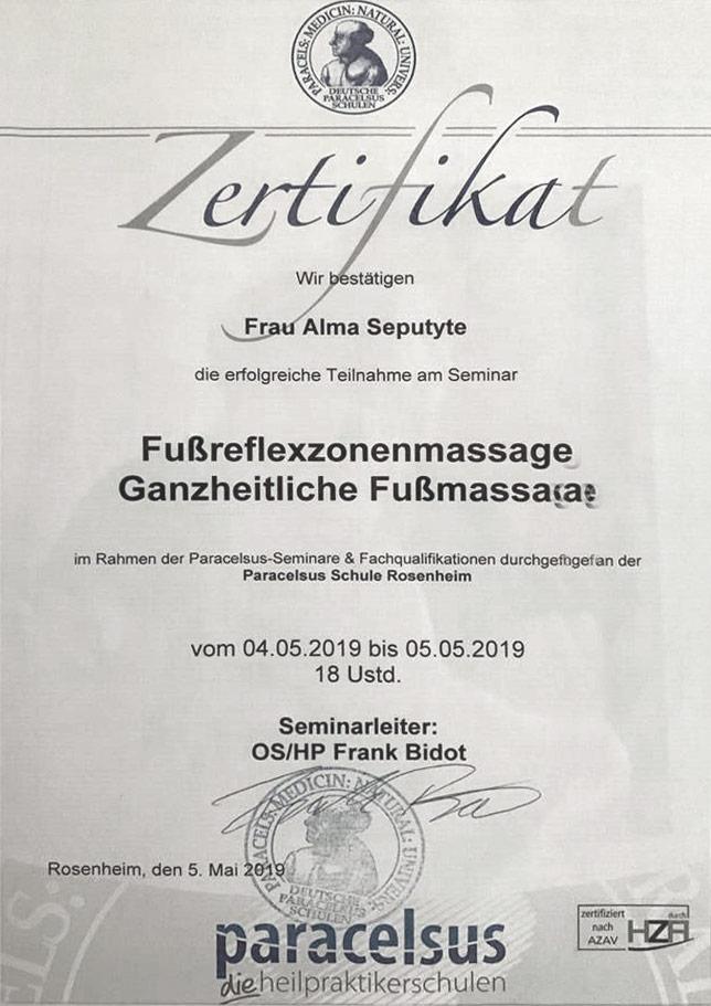 Zertifikat Fussreflexzonenmassage - Alma Seputyte